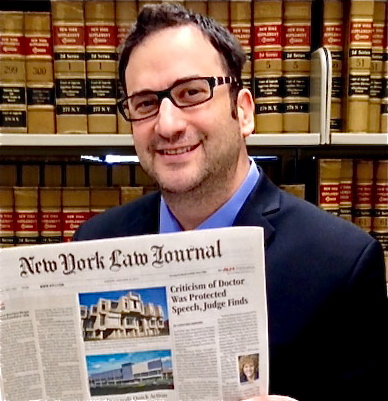 Samson Freundlich with New York Law Journal front page story: Criticism of Doctor was Protected Speech, Judge Finds