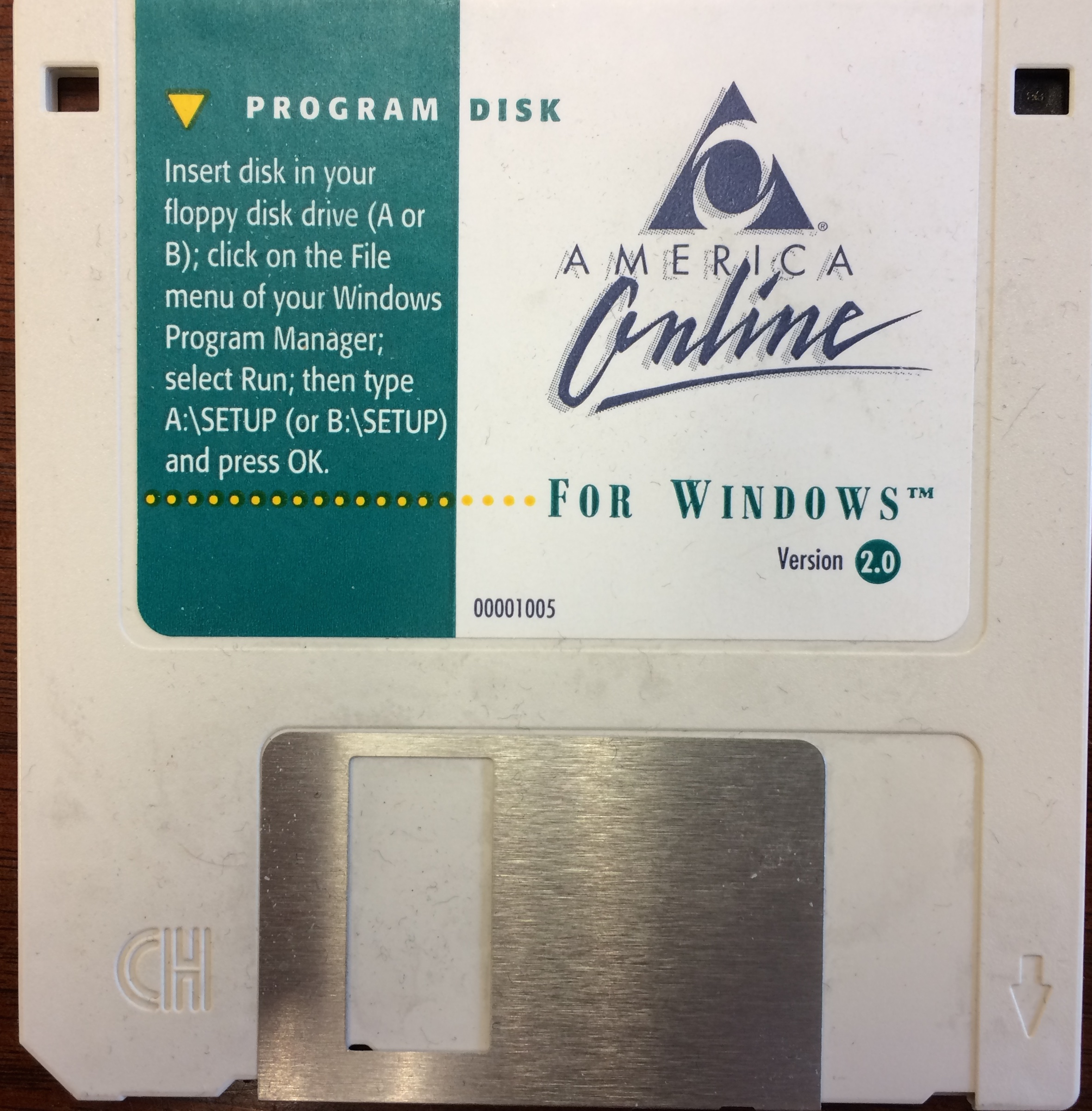 The AOL 2.0 floppy disk that I use as a drink coaster. Photo credit: me.